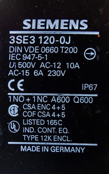 Siemens 3SE3120-0J 3SE3 120-0J Positionsschalter -unused- – Bild 2