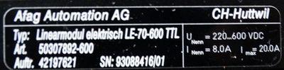 Afag LE-70-600 TTL  LE-70-600TTL  50307892-600 Linearmodul Elektrisch -unused- – Bild 3