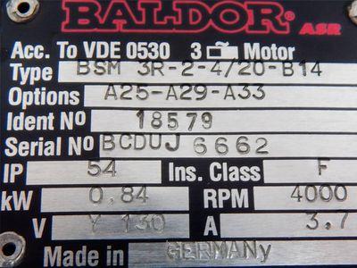 Baldor ASR Servomotor BSM 3R-2-4/20-B14 // BSM3R24/20B14 0,84 KW - unused - – Bild 3