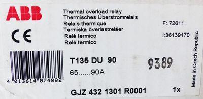 ABB T135 DU 90 T135DU90 GJZ4321301R0001 65-90A Therm. Überstromrelais -used/OVP- – Bild 3