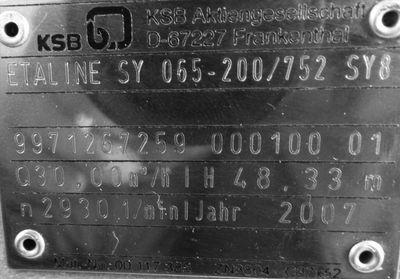 KSB Inline-Thermalölpumpe Etaline SY 065-200/752 SY8 HN 48m/QN 30m³/h -unused-  – Bild 3