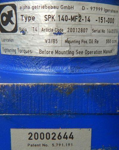 Alpha Getriebe SPK 140-MF2-14-151-000 Kegelrad Planetengetriebe - used - – Bild 3