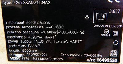 VEGA VEGAFLEX 62 FX62.XXAGD1HKMAX 13200 mm Seilsonde -unused/OVP- – Bild 4