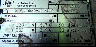 Rietschle SKP 35826-04  (03) Seitenkanalverdichter Vakuumpumpe 1,5 kw - used - – Bild 2