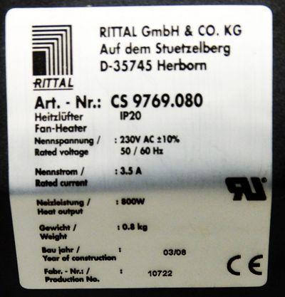 Rittal CS 9769.080  CS9769.080 IP20 3.5A 800W Schaltschrank-Heizung -unused- – Bild 2
