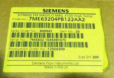 Siemens SITRANS 7ME6320-4PB12-2AA2 7ME6 320-4PB12-2AA2 MAGFLO 3100 -unused/OVP-
