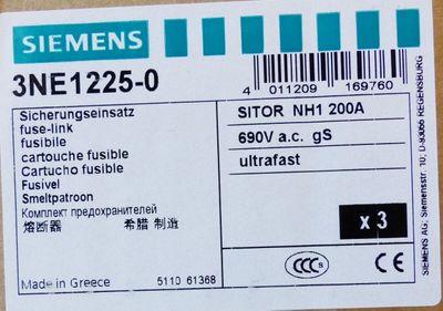 3x Siemens SITOR 3NE1225-0 3NE1 225-0 200A 690VAC/100kA -unused/OVP- – Bild 3
