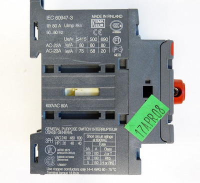 ABB OT63E3 600VAC 80A Switch-Disconnector Lasttrennschalter -unused- – Bild 3