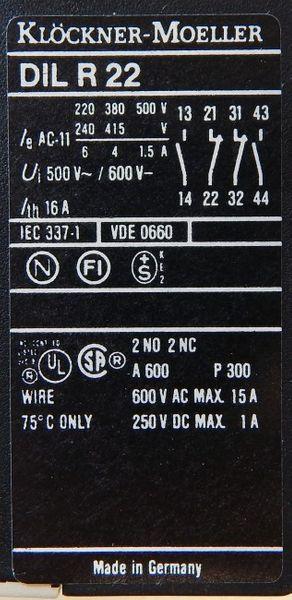 2X Klöckner Möller DIL R22 DILR22 220V 50Hz 240V 60Hz Hilfsschütz -unused/OVP- – Bild 4