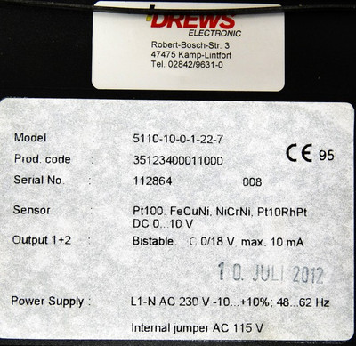 Drews Electronic 5110-10-0-1-22-7  35123400011000 Tempraturregler -unused/OVP- – Bild 3