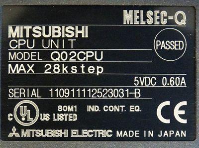 Mitsubishi Melsec-Q Q02CPU  Q02 CPU Max 28K Step 5VDC 0.60A CPU Unit -used- – Bild 3
