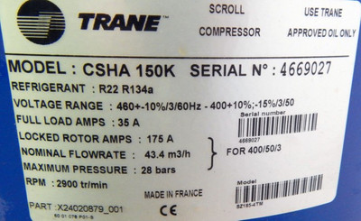TRANE Scroll Compressor CSHA 150 K Part.Nr.: X24020879001 - unused/OVP - – Bild 2