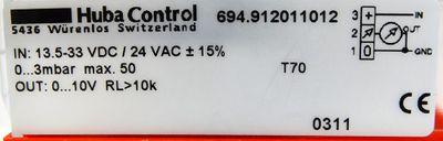Huba Control 694.912011012 13.5-33 VDC / 24 VAC Diff. Druck-Transmitter -used- – Bild 3