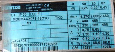 Lenze Motor MDEMAXX071-12C1C mit  8200 motec  0,25KW  1370r/min  - unused/OVP -  – Bild 3