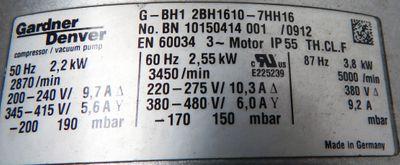 Gardner Denver Seitenkanalverdichter G-BH1 2BH 1640-7HH16 2,2KW 2870/min-unused- – Bild 2