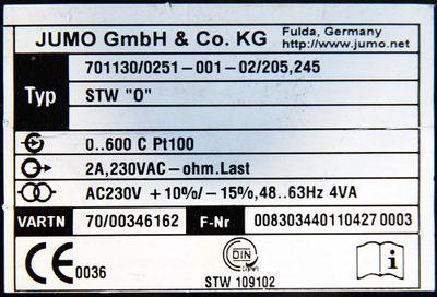 "JUMO 701130/0251-001-02/205,245 STW""O"" 0-600 C 230VAC Temperaturbegrenzer -used- – Bild 3"