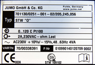 "JUMO 701130/0251-001-02/205,245,056 STW ""O"" 0-120 C 230VAC Temp. begrenzer -used – Bild 3"