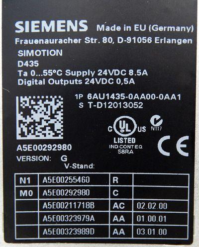 Siemens Simotion D435 6AU1435-0AA00-0AA1 6AU1 435-0AA00-0AA1 Ver. G -unused- – Bild 3