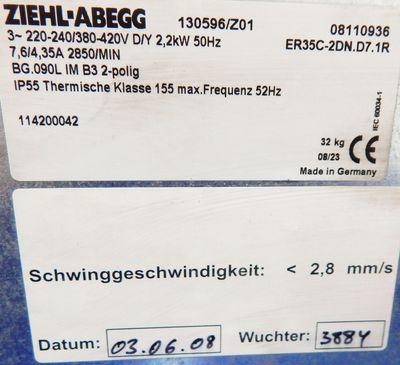 ZIEHL ABEGG Ventilator, Lüfter ER35C-2DN.D7.1R  2,2KW  2850/min  220V - unused - – Bild 3