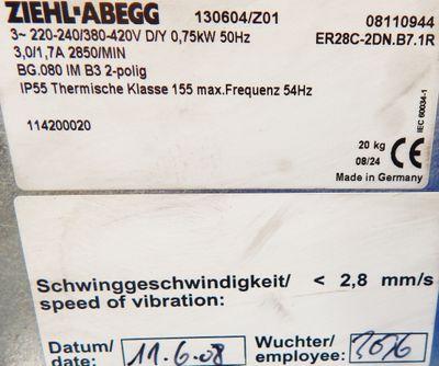 ZIEHL ABEGG Ventilator, Lüfter ER28C-2DN.B7.1R 0,75KW 2850/min 220V - unused - – Bild 3