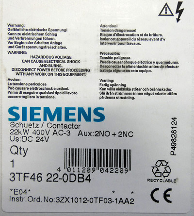 Siemens 3TF46 22-0DB4 22kW 400V E: 04 Schütz Contactor -unused/OVP- – Bild 3