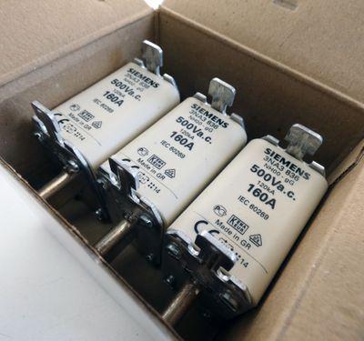 3x Siemens 3NA3 836 3NA3836 160A 500V Gr. 00 Sicherungseinsatz -unused/OVP- – Bild 1