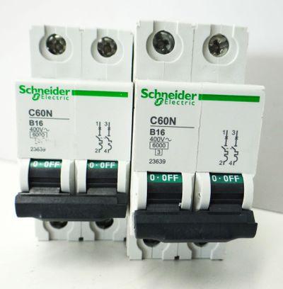2x Schneider Electric 23639 C60N B16 Leistungsschutzschalter -used- – Bild 2