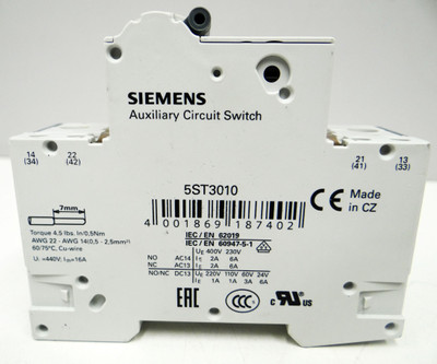 2x Siemens 5SY4102-7 + 5ST3010.AS 5SY4 102-7 + 5ST3 010.AS LS-Schalter -unused- – Bild 3