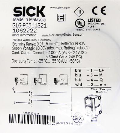 Sick GL6-P0511S21  GL6P0511S21 1062222 Reflexlichtschranke -sealed- – Bild 3