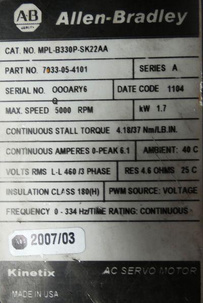 Allen Bradley MPL-B330P-SK22AA Servomotor -used- – Bild 5