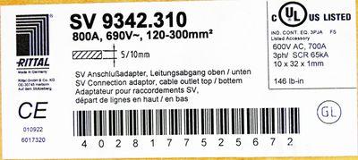 Rittal SV 9342.310 SV9342.310 800A 690V~ Anschlussadapter -unused/OVP- – Bild 3
