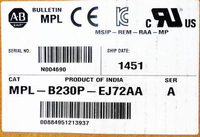 Allen Bradley Bulletin MPL MPL-B230P-EJ72AA Ser. A Servomotor -unused/OVP- – Bild 2