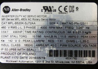Allen Bradley MP-Series MPL-B520K-SJ72AA PN-12311 480V AC Servomotor -unused/OVP – Bild 3