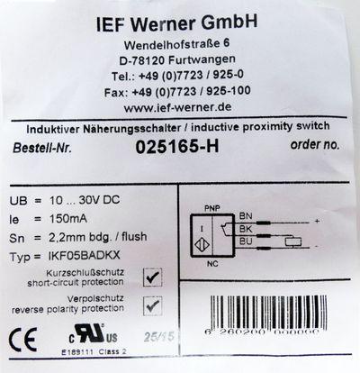 IEF Werner IKF05BADKX 025165-H Induktiver Näherungsschalter -unused/OVP- – Bild 3