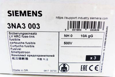 3x Siemens 3NA3 003  3NA3003  10A 500V NH0  Sicherungseinsatz -unused/OVP- – Bild 3
