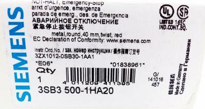 Siemens 3SB3 500-1HA20 NOT-HALT Emergency Stop E-Stand:06 -unused/OVP- – Bild 3
