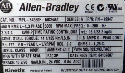 ALLEN BRADLEY MPL-B4560F-MK24AA  MPLB4560FMK24AA  3,2/4,4 KW  3000r/min  -used- – Bild 2