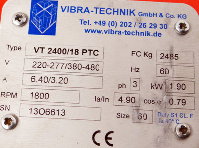 VIBRA-Technik VT 2400/18 PTC Vibrationsmotor Rüttelmotor 220/380 V 1,9 KW -used- – Bild 2