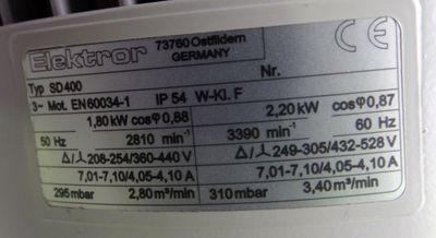 Elektror SD 400 SD400 230V/50Hz rpm2870 1,5kW 280mbar -used- – Bild 5