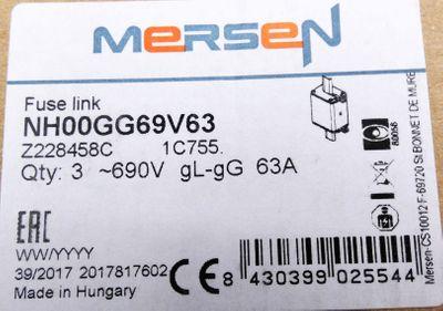 5x Ferraz Shawmut Mersen NH00GG69V63 Z228458 Sicherungseinsatz -unused- – Bild 3