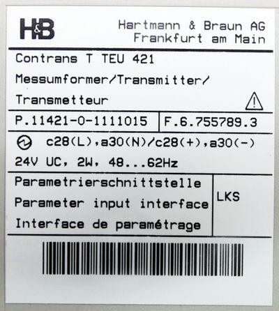 H&B Hartmann & Braun TEU 421 TEU421 Messumformer P.11421-0-1111015 -unused/OVP- – Bild 3