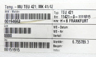 H&B Hartmann & Braun TEU 421 TEU421 Messumformer P.11421-0-1111015 -unused/OVP- – Bild 4