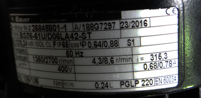 Bauer BS06-61U/D06LA42-ST 400V/50Hz rpm1350/2700 0,25kW I=315,3 -unused- – Bild 5