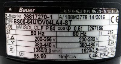 Bauer BS06-64U/DV04LA4-ST 200V/50Hz rpm1350/3,3 0,06kW I=418 -used- – Bild 3