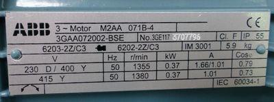 ABB M2AA 071B-4 3GAA072002-BSE 230V rpm1355 0,37kW + KS071MCM55ABB1 -unused- – Bild 2