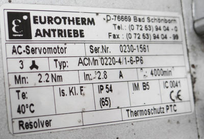 Eurotherm ACMn 0220-4/1-6-P6 ACMn0220-4/1-6-P6 rpm4000 In: 2,8A -used- – Bild 2
