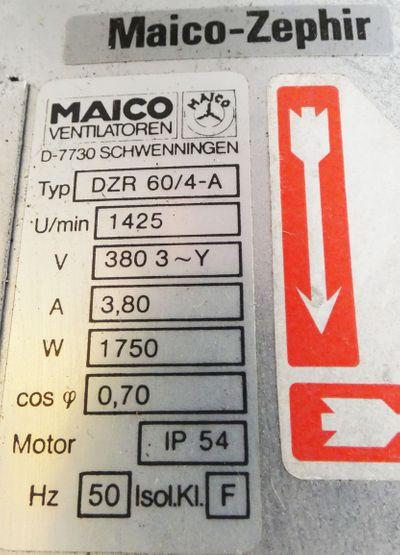 Maico-Zephir DZR 60/4-A DZR604A 380V 1,75 KW 1425r/min Gebläse -used- – Bild 2