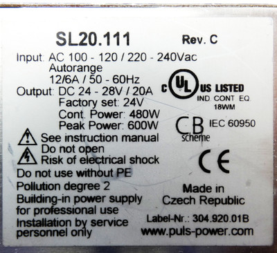 PULS SL20.111 SL 20.111 SL20111 24-28V DC 20A Rev. C Power Supply -used- – Bild 3