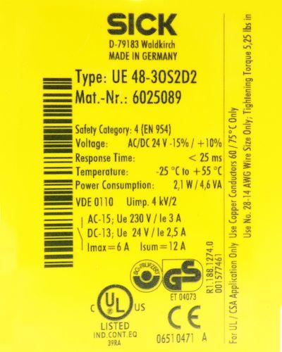Sick UE 48-3OS UE48-3OS2D2 UE483OS2D2 6025089 AC/DC 24V Sicherheitsrelais -used- – Bild 3