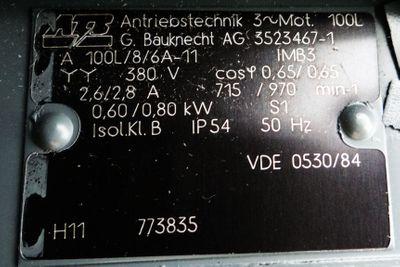 ATB 100L A100L/8/6A-11 380V/50Hz 2,6/2,8A rpm715/970 0,60/0,80kW -unused/OVP- – Bild 3